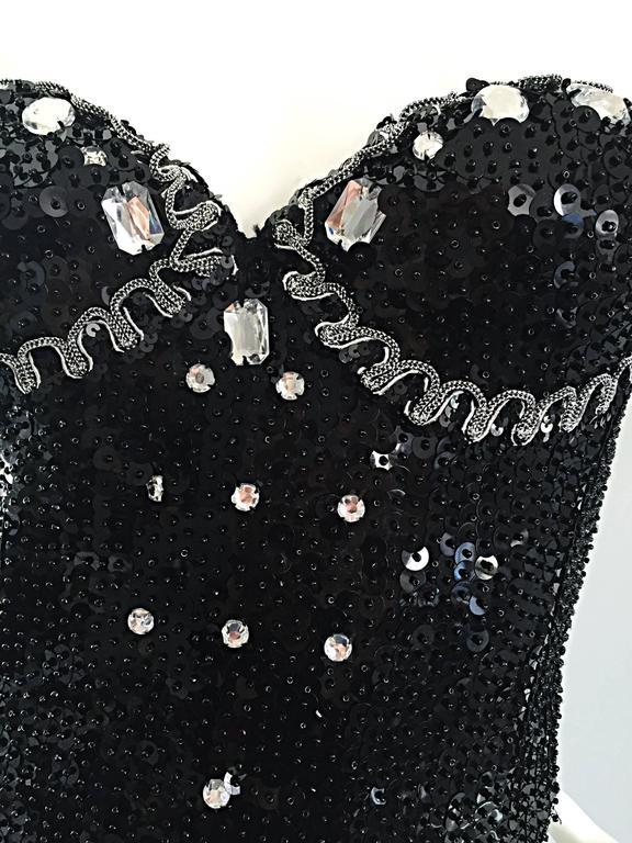Vintage Dana Deatherage Black Sequin + Rhinestone + Beaded Corset Bustier Top For Sale 3
