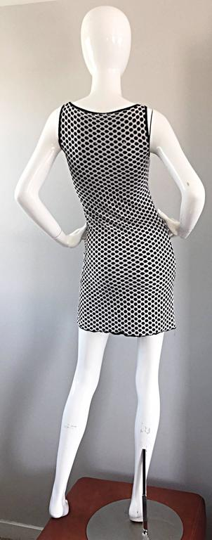 1990s Gianfranco Ferre Black and White Fishnet Beaded Bodycon 90s Vintage Dress For Sale 1