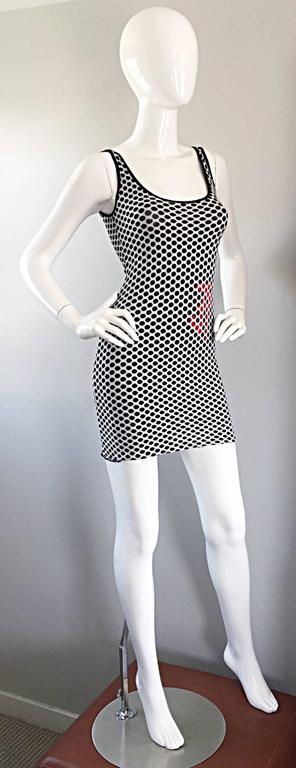 1990s Gianfranco Ferre Black and White Fishnet Beaded Bodycon 90s Vintage Dress For Sale 2