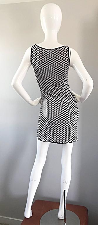 1990s Gianfranco Ferre Black and White Fishnet Beaded Bodycon 90s Vintage Dress For Sale 3