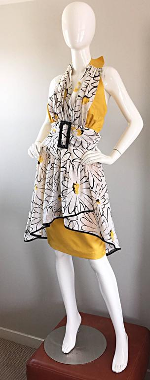 Avant Garde Vintage 80s Stephan Caras Black + Yellow + White Daisy Print Dress 4
