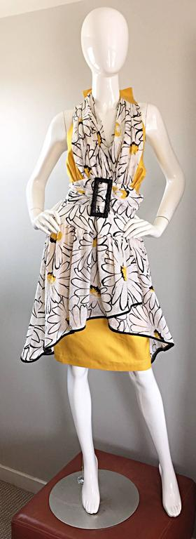 Avant Garde Vintage 80s Stephan Caras Black + Yellow + White Daisy Print Dress 2