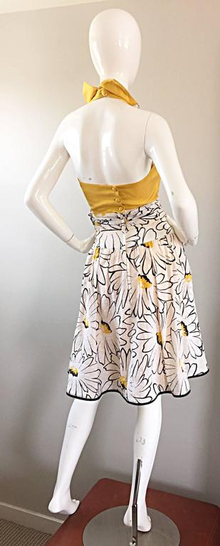 Avant Garde Vintage 80s Stephan Caras Black + Yellow + White Daisy Print Dress 5