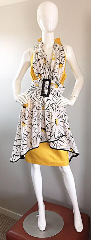 Avant Garde Vintage 80s Stephan Caras Black + Yellow + White Daisy Print Dress 9