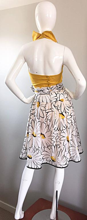 Avant Garde Vintage 80s Stephan Caras Black + Yellow + White Daisy Print Dress 8