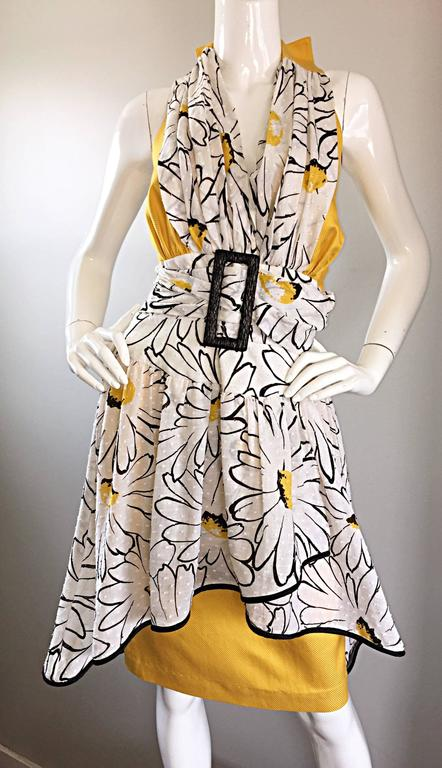Avant Garde Vintage 80s Stephan Caras Black + Yellow + White Daisy Print Dress 6