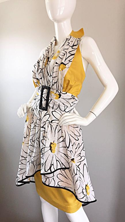 Avant Garde Vintage 80s Stephan Caras Black + Yellow + White Daisy Print Dress 3