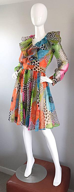 1970s Jack Bryan Chiffon Neon Flowers + Polka Dots Amazing Vintage Ruffle Dress In Excellent Condition For Sale In San Francisco, CA