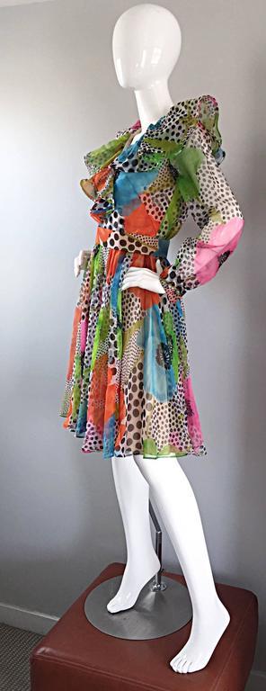 1970s Jack Bryan Chiffon Neon Flowers + Polka Dots Amazing Vintage Ruffle Dress 7