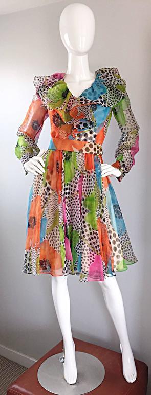 1970s Jack Bryan Chiffon Neon Flowers + Polka Dots Amazing Vintage Ruffle Dress 9