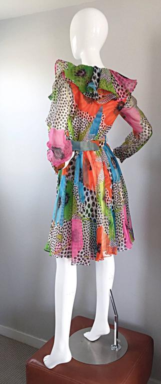 1970s Jack Bryan Chiffon Neon Flowers + Polka Dots Amazing Vintage Ruffle Dress 5