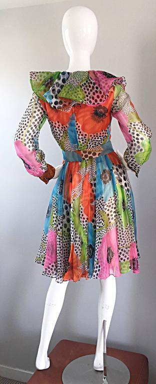 1970s Jack Bryan Chiffon Neon Flowers + Polka Dots Amazing Vintage Ruffle Dress 8