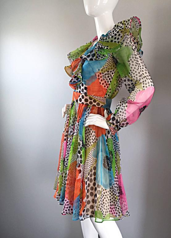 1970s Jack Bryan Chiffon Neon Flowers + Polka Dots Amazing Vintage Ruffle Dress For Sale 1