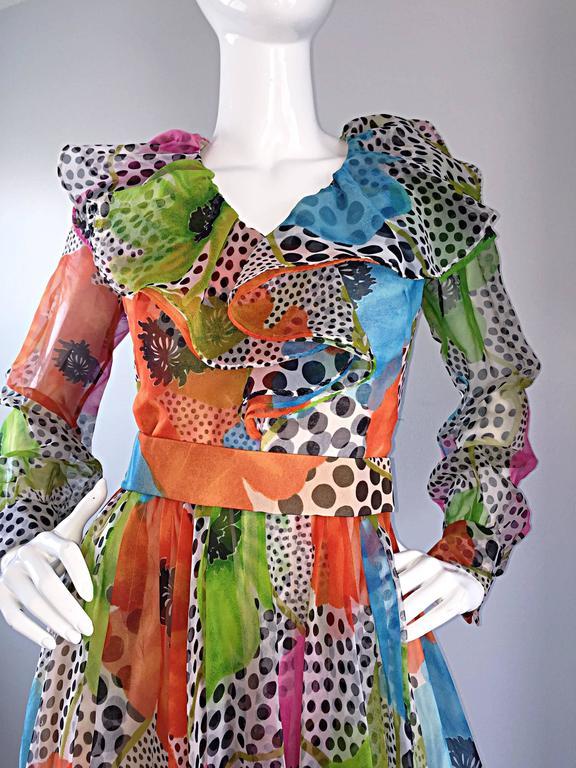 Brown 1970s Jack Bryan Chiffon Neon Flowers + Polka Dots Amazing Vintage Ruffle Dress For Sale