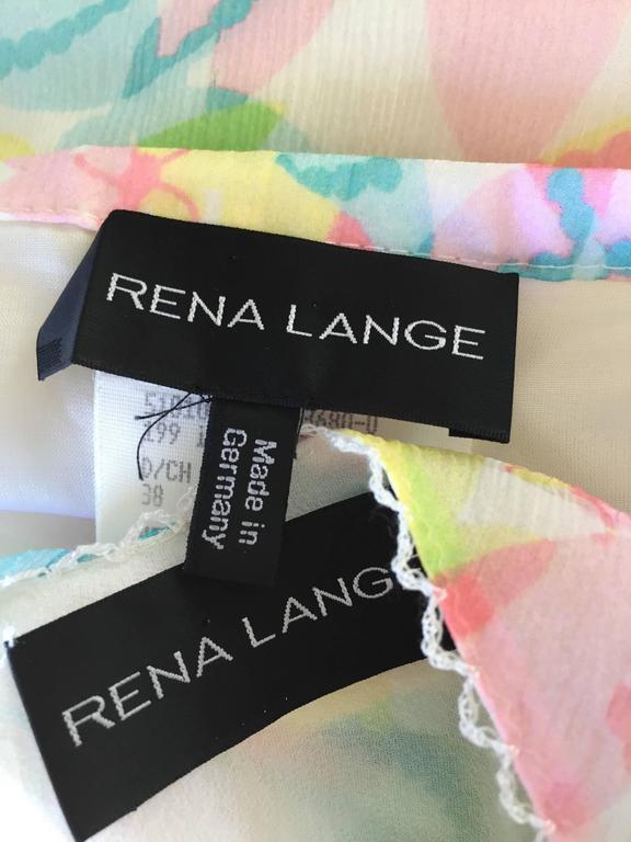 Vintage Rena Lange 1990s Silk Chiffon ' Dragonfly ' Dress Set Blouse + Skirt For Sale 5