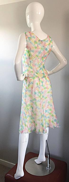 Women's Vintage Rena Lange 1990s Silk Chiffon ' Dragonfly ' Dress Set Blouse + Skirt For Sale