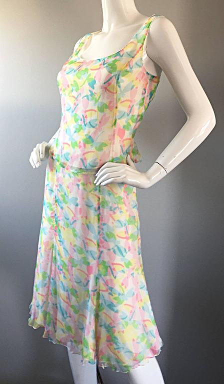 Brown Vintage Rena Lange 1990s Silk Chiffon ' Dragonfly ' Dress Set Blouse + Skirt For Sale