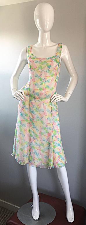 Vintage Rena Lange 1990s Silk Chiffon ' Dragonfly ' Dress Set Blouse + Skirt For Sale 4