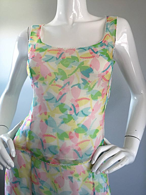 Vintage Rena Lange 1990s Silk Chiffon ' Dragonfly ' Dress Set Blouse + Skirt In Excellent Condition For Sale In Chicago, IL