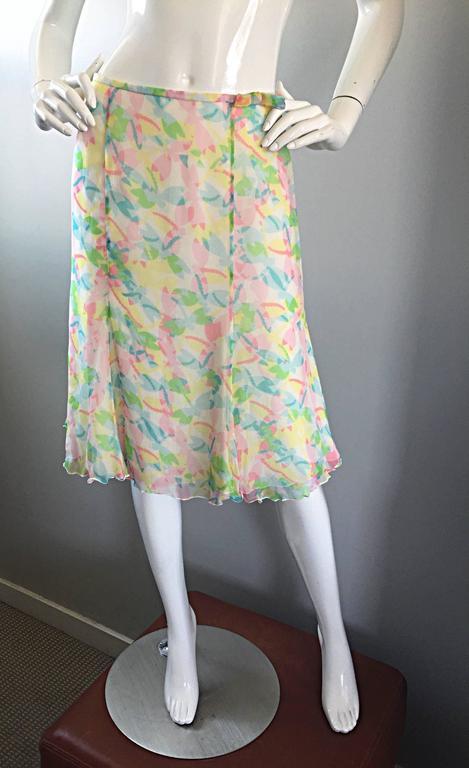 Vintage Rena Lange 1990s Silk Chiffon ' Dragonfly ' Dress Set Blouse + Skirt For Sale 3