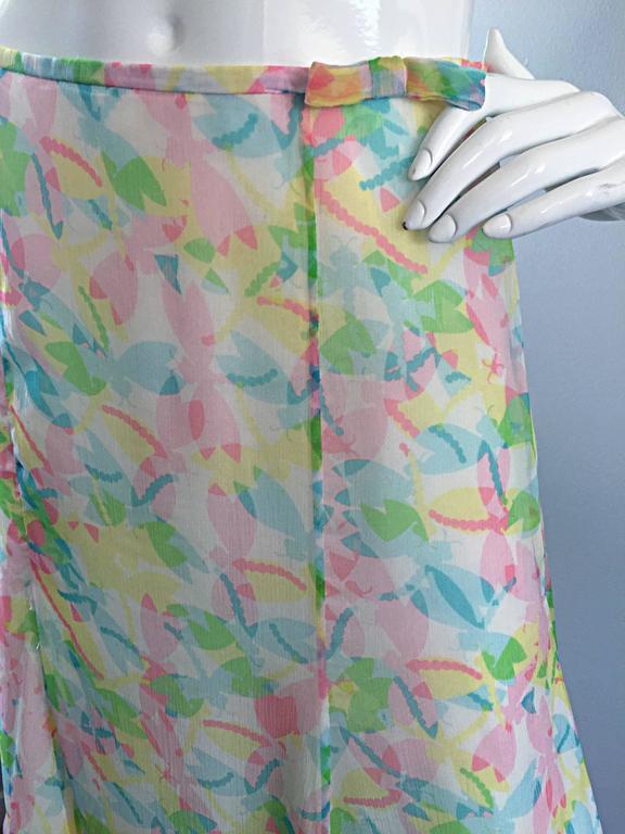 Vintage Rena Lange 1990s Silk Chiffon ' Dragonfly ' Dress Set Blouse + Skirt For Sale 1