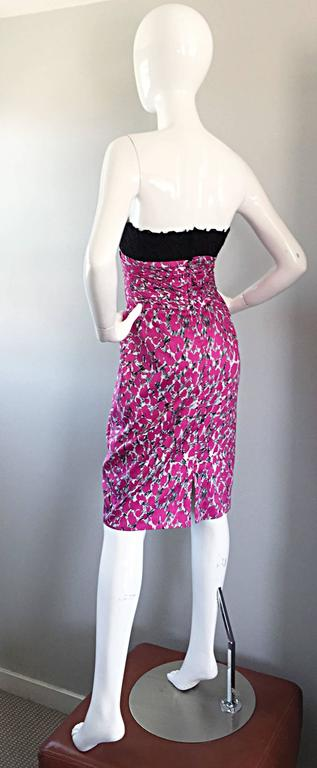 Purple Liancarlo Neiman Marcus Vintage Pink Black White Leopard Print Strapless Dress For Sale