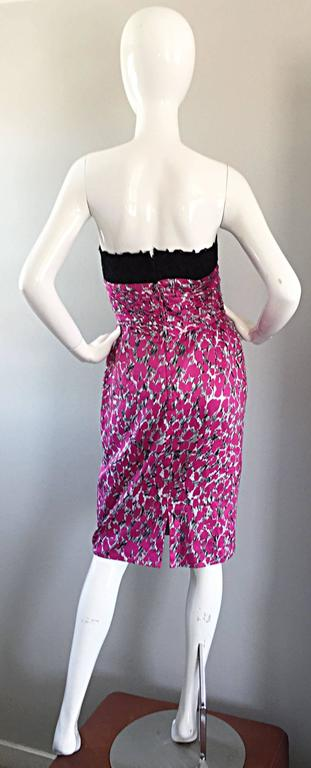 Liancarlo Neiman Marcus Vintage Pink Black White Leopard Print Strapless Dress For Sale 3