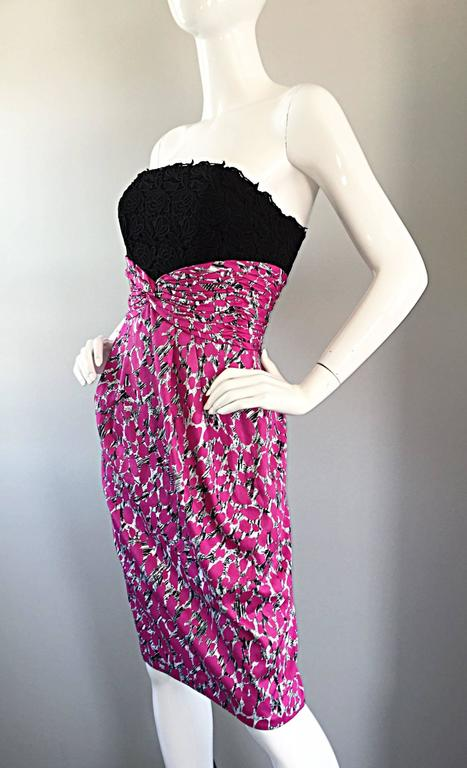 Women's Liancarlo Neiman Marcus Vintage Pink Black White Leopard Print Strapless Dress For Sale