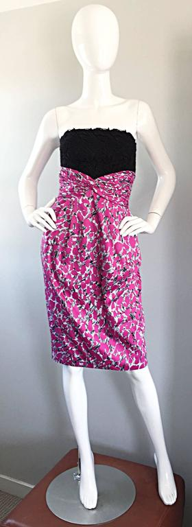 Liancarlo Neiman Marcus Vintage Pink Black White Leopard Print Strapless Dress For Sale 4