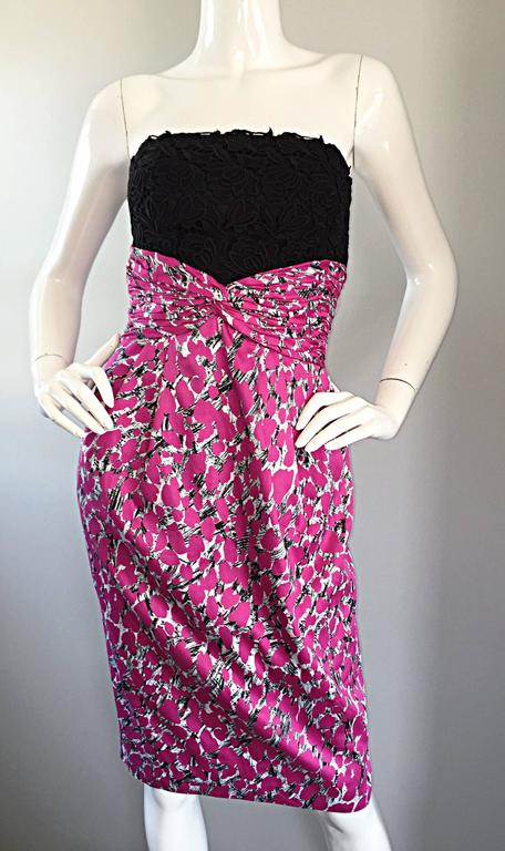 Liancarlo Neiman Marcus Vintage Pink Black White Leopard Print Strapless Dress For Sale 1