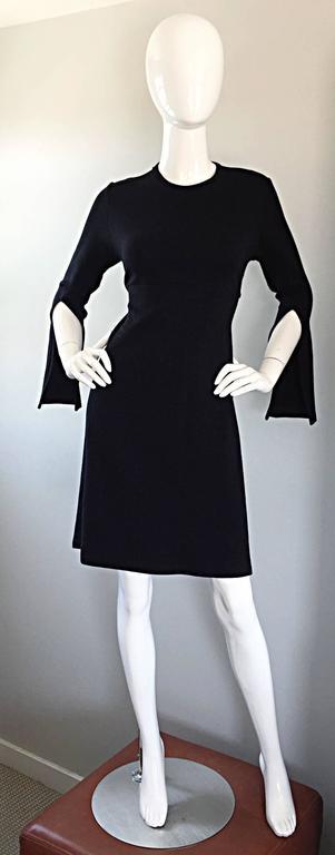 1990s Morgane Le Fay ' Slash Sleeve ' Black Long Sleeve Tie Belted Vintage Dress For Sale 5