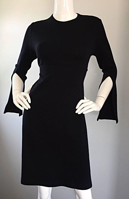 1990s Morgane Le Fay ' Slash Sleeve ' Black Long Sleeve Tie Belted Vintage Dress In Excellent Condition For Sale In Chicago, IL