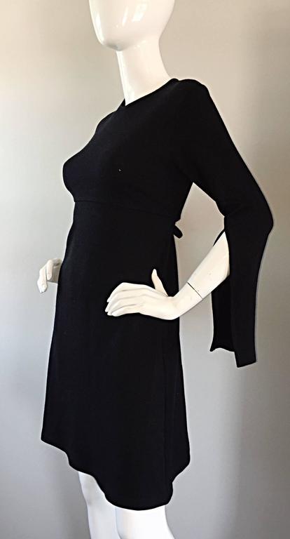 1990s Morgane Le Fay ' Slash Sleeve ' Black Long Sleeve Tie Belted Vintage Dress For Sale 3