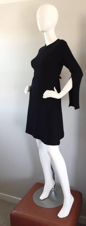 Women's 1990s Morgane Le Fay ' Slash Sleeve ' Black Long Sleeve Tie Belted Vintage Dress For Sale