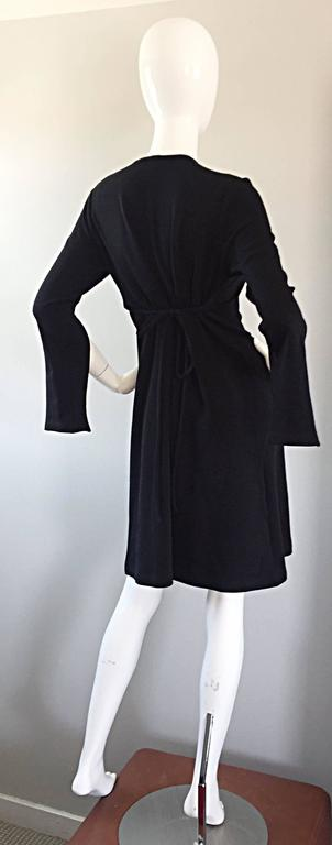 1990s Morgane Le Fay ' Slash Sleeve ' Black Long Sleeve Tie Belted Vintage Dress For Sale 4