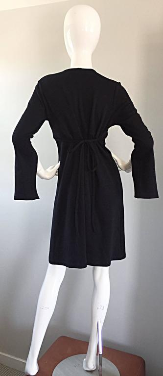 1990s Morgane Le Fay ' Slash Sleeve ' Black Long Sleeve Tie Belted Vintage Dress For Sale 1