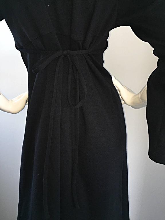 1990s Morgane Le Fay ' Slash Sleeve ' Black Long Sleeve Tie Belted Vintage Dress For Sale 2