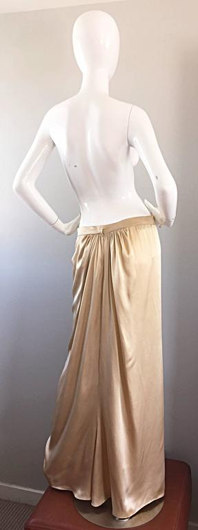 Pamela Dennis Couture Vintage Gold ' Liquid ' Silk Grecian Long Evening Skirt For Sale 3