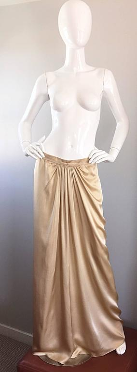 Simply stunning vintage PAMELA DENNIS, for Bergdorf Goodman, gold silk Grecian inspired evening maxi skirt! Dramatic floor length, with intricate pleating / draping details. This skirt features the finest of any silk I have seen, and literally flows