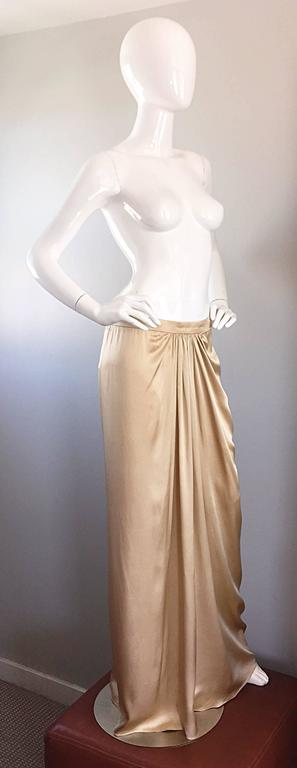 Pamela Dennis Couture Vintage Gold ' Liquid ' Silk Grecian Long Evening Skirt In Excellent Condition For Sale In Chicago, IL