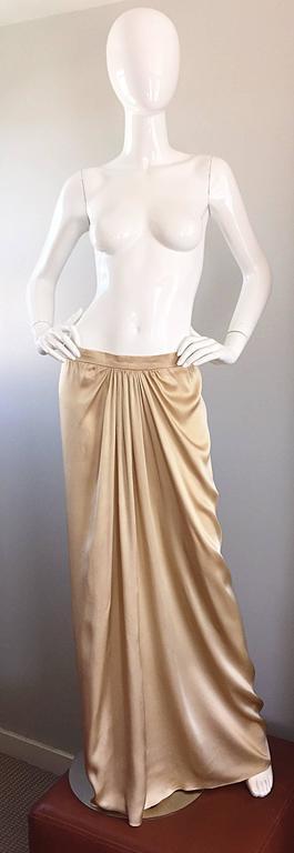Pamela Dennis Couture Vintage Gold ' Liquid ' Silk Grecian Long Evening Skirt For Sale 4