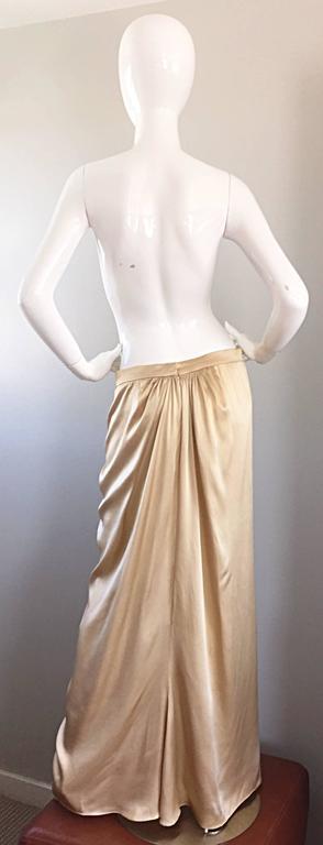 Pamela Dennis Couture Vintage Gold ' Liquid ' Silk Grecian Long Evening Skirt For Sale 1