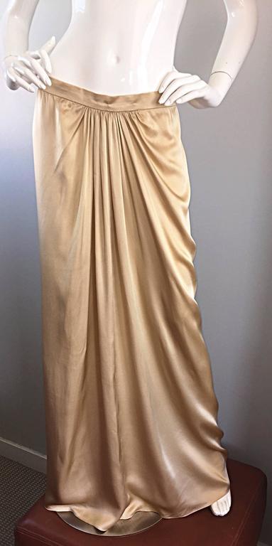 Women's or Men's Pamela Dennis Couture Vintage Gold ' Liquid ' Silk Grecian Long Evening Skirt For Sale