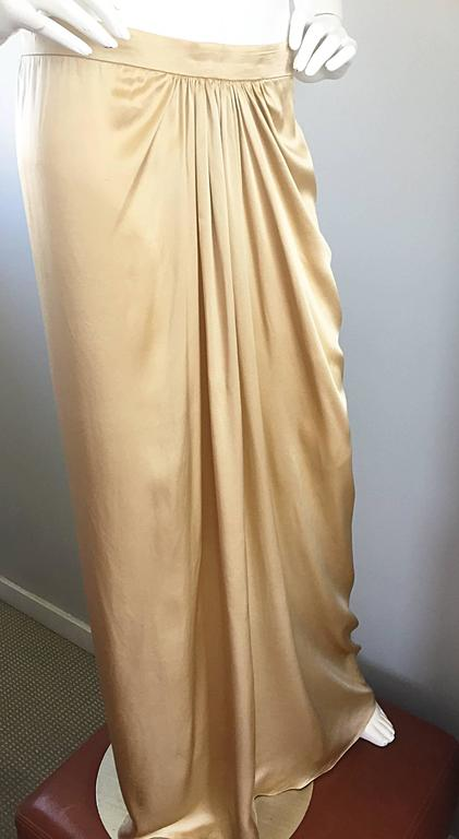 Pamela Dennis Couture Vintage Gold ' Liquid ' Silk Grecian Long Evening Skirt For Sale 2