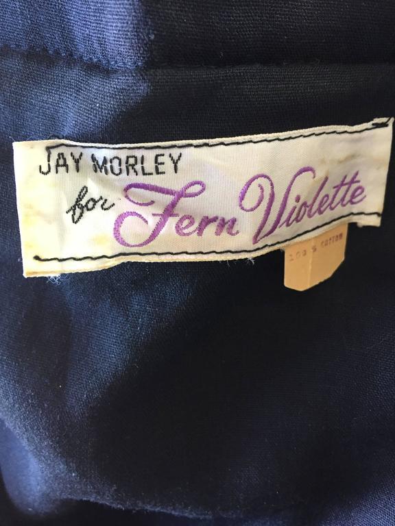 Rare 1970s Jay Morley for Fern Violette Velvet + Cotton Ethnic Tribal Boho Dress 10