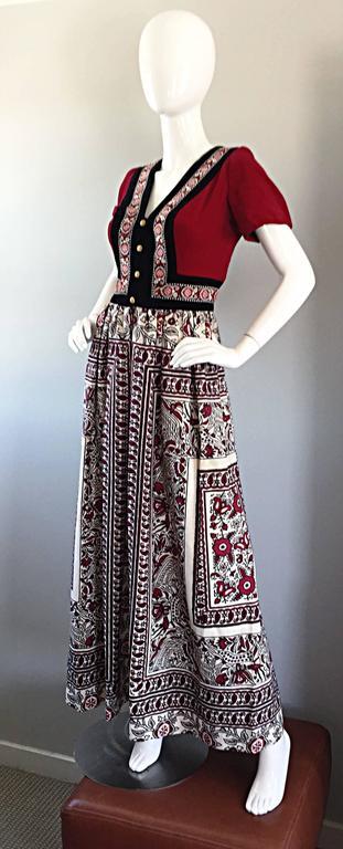 Rare 1970s Jay Morley for Fern Violette Velvet + Cotton Ethnic Tribal Boho Dress 4