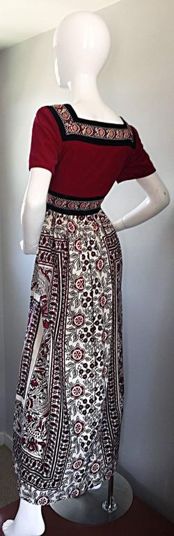 Rare 1970s Jay Morley for Fern Violette Velvet + Cotton Ethnic Tribal Boho Dress 5