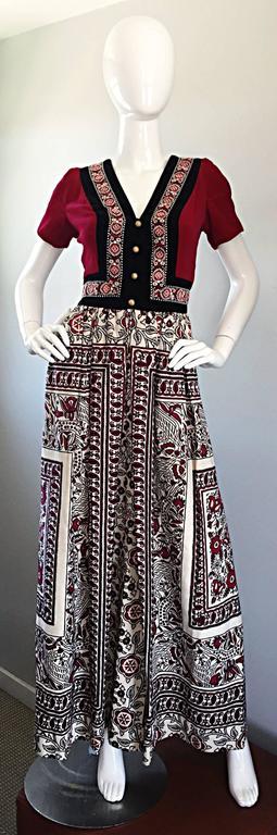 Rare 1970s Jay Morley for Fern Violette Velvet + Cotton Ethnic Tribal Boho Dress 6