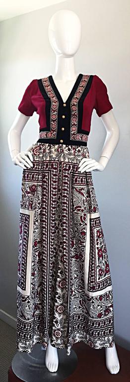 Rare 1970s Jay Morley for Fern Violette Velvet + Cotton Ethnic Tribal Boho Dress 9