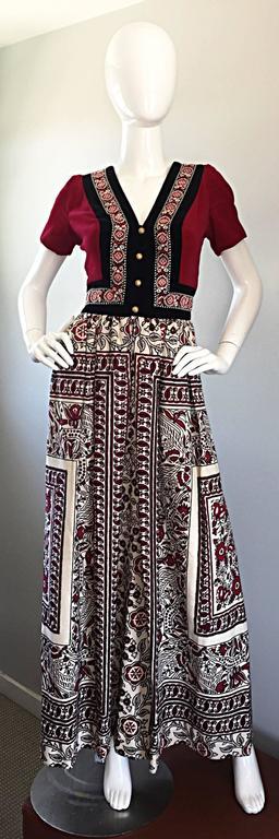 Rare 1970s Jay Morley for Fern Violette Velvet + Cotton Ethnic Tribal Boho Dress 2